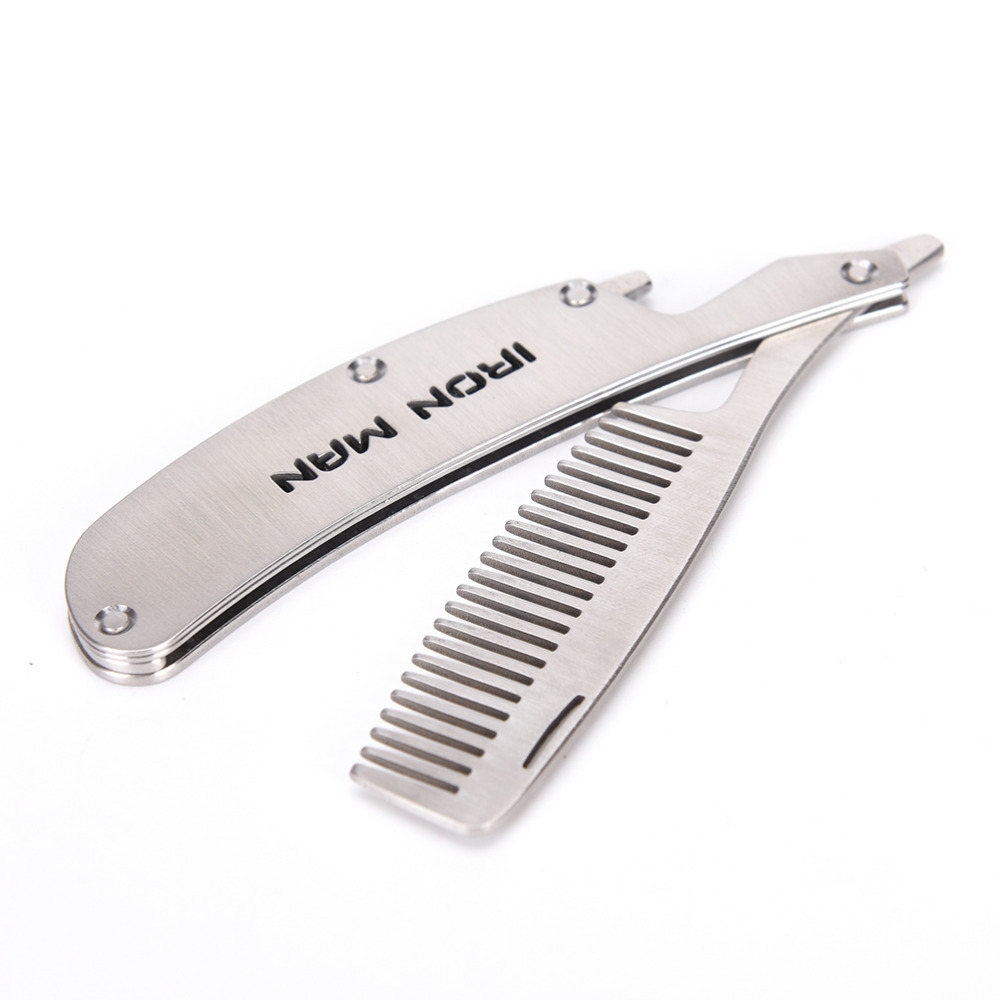 Professional Folding Comb Men's mustache comb 10*2.5cm Anti Static Stainless Steel Folding Comb Can Be Use As A Bottle Opener multi function stainless steel can bottle opener silver