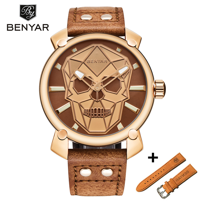 BENYAR New Creative Blue Skull Watch Mens Watches Set Luxury Fashion Leather Quartz Wristwatch Clock Men Relogio MasculinoBENYAR New Creative Blue Skull Watch Mens Watches Set Luxury Fashion Leather Quartz Wristwatch Clock Men Relogio Masculino