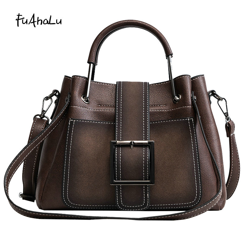 FuAHaLu New women's wild Messenger bag fashion simple Shoulder bucket bag personality atmospheric handbags stylish and simple bucket bag wild shoulder messenger bag