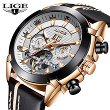 LIGE Men Watch Luxury Brand Tourbillon Automatic Mechanical