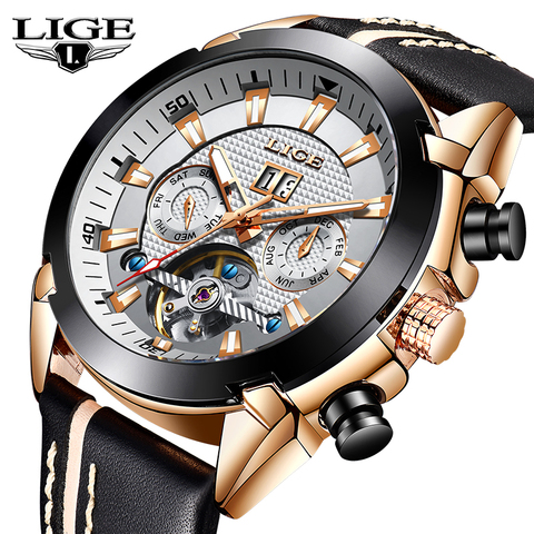 LIGE Men Watch Luxury Brand Tourbillon Automatic Mechanical Watches Waterproof Fashion Leather Business Watch Relogio Masculino Pakistan