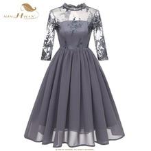 0a9b7a64b SISHION vestido de gasa de encaje con bordado 3 4 manga larga azul marino  vino