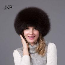 JKP 2018 Women Real Fox Fur Hat Russian Ushanka Cossack Hats