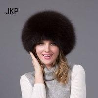JKP 2018 Women Real Fox Fur Hat Russian Ushanka Cossack Hats Winter Warm Ear Cap Fashion solid female hat HJL 02