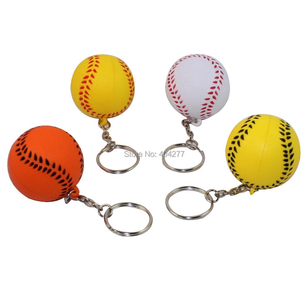 Sports christmas ornaments - Baseball Ball Soft Pu Foam Keychain Key Chain Key Ring Hanging Decorative Pendant Ornament Christmas Birthday