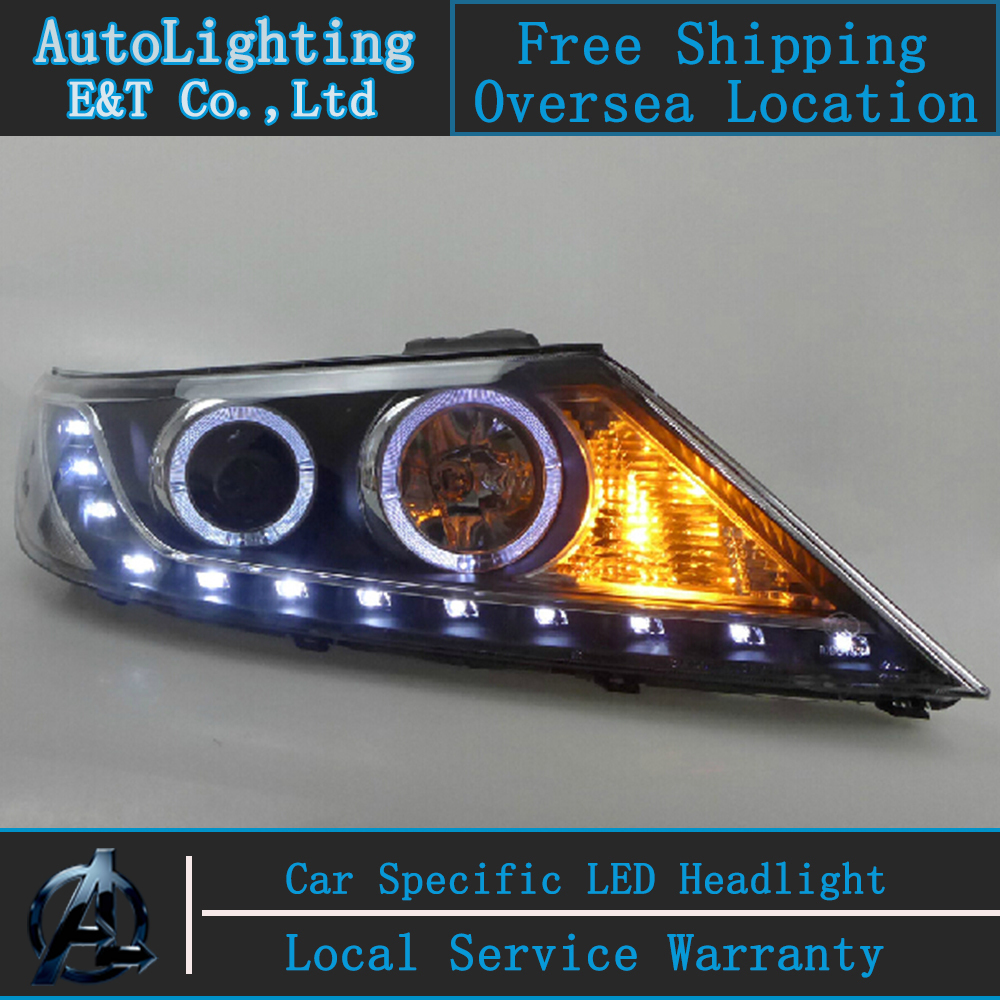 Car styling For Kia Sorento Headlight assembly 2011-2013 Sorento LED Headlight angel eye headlight h7 with hid kit 2pcs.