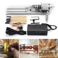 80W Mini Lathe Beads Machine DC 24V Woodworking DIY Lathe Engraver Set Polishing Cutting Cutter Drill Rotary Tool + Power Supply