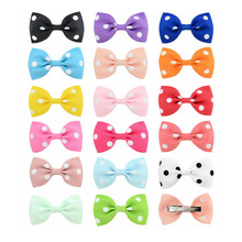 Lovely Kids Dot Grosgrain Ribbon Handmade Bows Tie Hair Clip DIY Bowknots Girls Hairclips Hairpins Hairgrips Hair Accessories цена в Москве и Питере