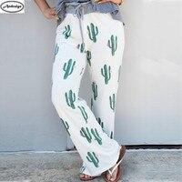 Spring Autumn Women Fashion Cactus Loose Pants Casual Long Trousers