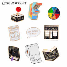QIHE JEWELRY Book Pin Game over brooches Good vibes badges Read more lapel pins Funny quote jewelry Book pins collection(China)