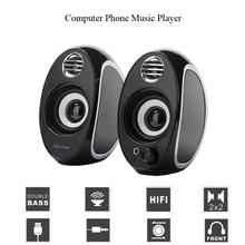 лучшая цена Bass Mini Speaker fo Laptop Music Player Portable HIFI Speaker Stereo Loudspeaker 3.5mm Aux USB Charge