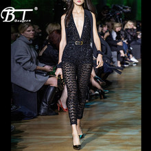 Beateen 2018 New Black Deep V Sexy Club Skinny Jumpsuits Sequined Split Long Sleeve Full Length Mesh Pantsuits(China)