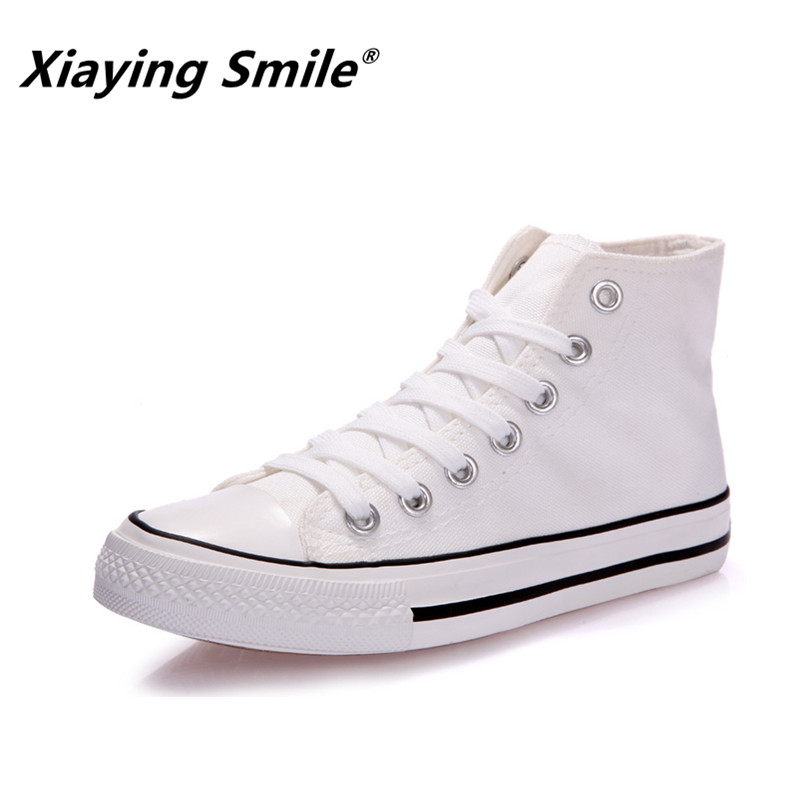 Xiaying Smile Casual Flats Summer Shoes Women Lace-up Unisex Walking Shoes Canvas Shoes High Top Hot selling Students Shoes hot sale 2016 top quality brand shoes for men fashion casual shoes teenagers flat walking shoes high top canvas shoes zatapos