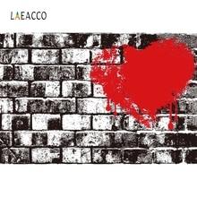 Laeacco Retro Brick Wall Graffiti Love Heart Portrait Photography Backgrounds Customized Photographic Backdrops for Photo Stud