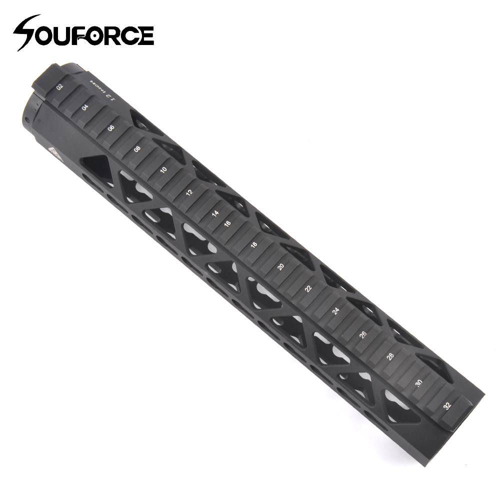 Tactical Picatinny Weaver 12 inch Rail for Keymod Sling Swivels Adapter fit AR 15 series Aluminum alloy CNC PRA-12 Black