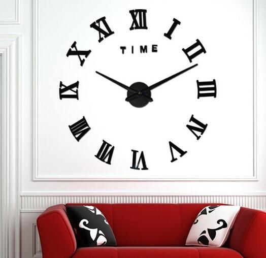 Modern Luxury 3D Wall Clock Big Size Home Decor DIY Large Roman Quartz Clocks Acrylic Mirror Wall Stickers
