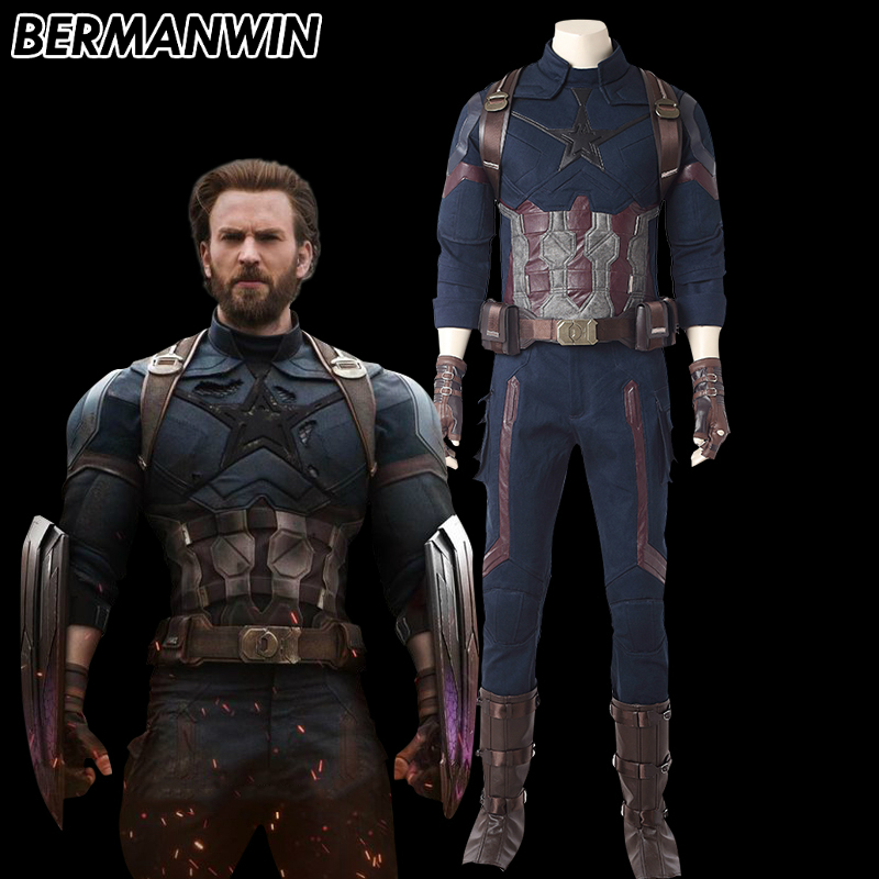 BERMANWIN High Quality 2018 Avengers Infinity War Captain America Cosplay Costume Halloween Captain America Costume For Adult