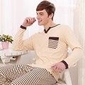 2016 Primavera E No Outono Masculino 100% Algodão Listras Homens Pijama Pijama Casuais Definir Plus Size Modal de Algodão Sleepwear Salão