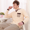 2016 Spring And Autumn Male 100% Cotton Pajamas Casual Stripes Men Pajama Set Plus Size Modal Cotton Lounge Sleepwear