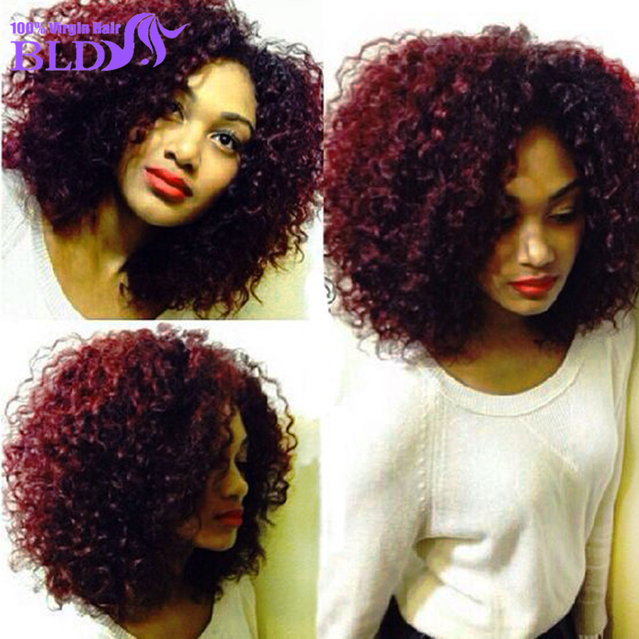 Premium 7A Peruvian Curly Hair Extensions Red Human Weave 99J Kinky Virgin Sexy Formula