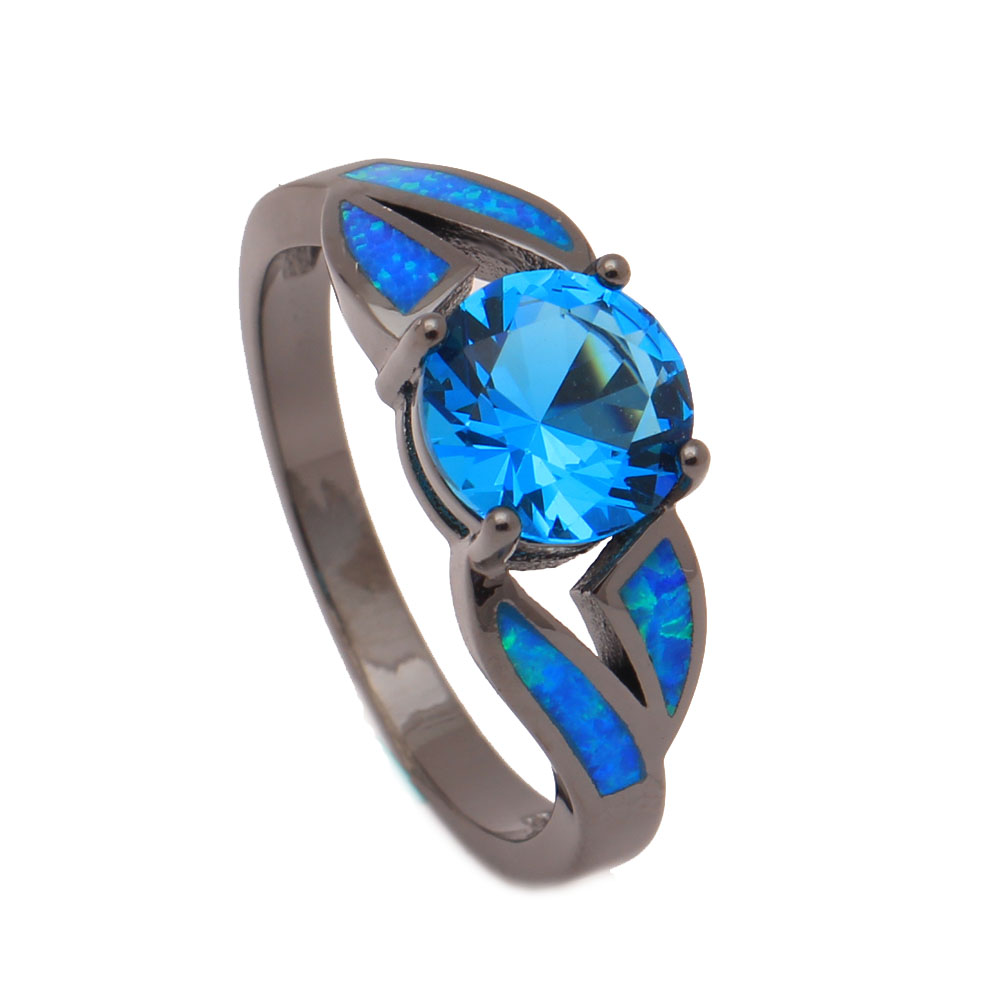 Ufooro Mystic Engagement Rings Rainbow Purple Blue Natural Black Jewelry  Women 8mm Cubic Zircon Zircon Opal