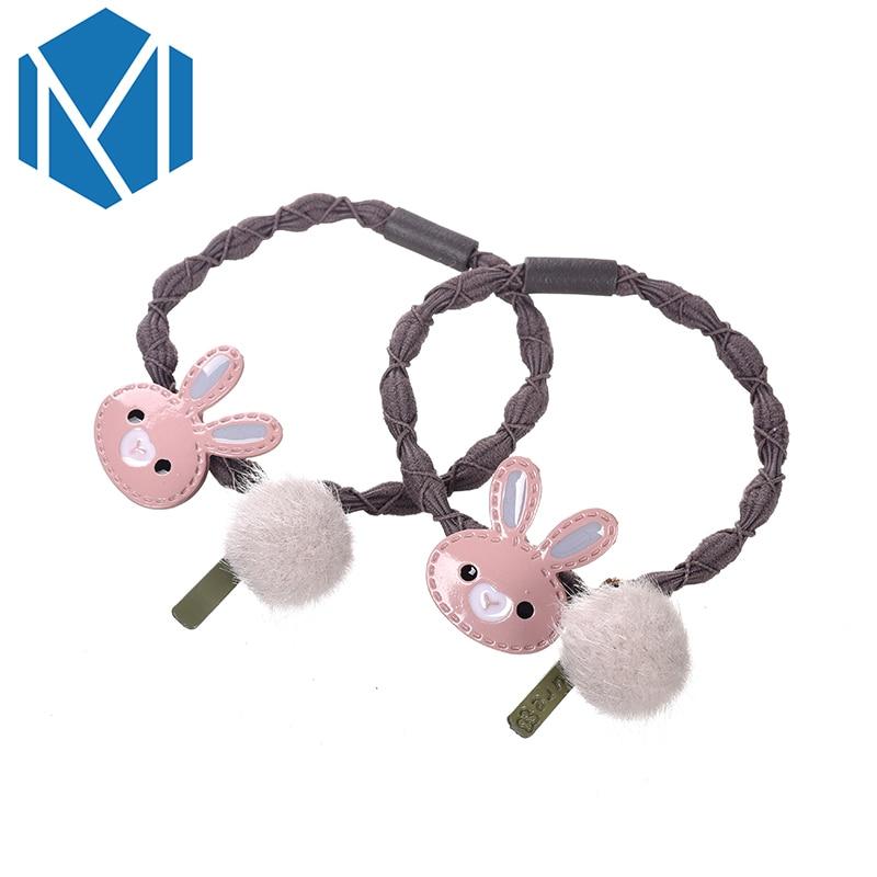 1 Paar Nette Kaninchen Elastische Haar Zubehör Mädchen Schöne Plüsch Pompon Haar Bands Kinder Kinder Haarige Kugel Gum Für Haar Scrunchy