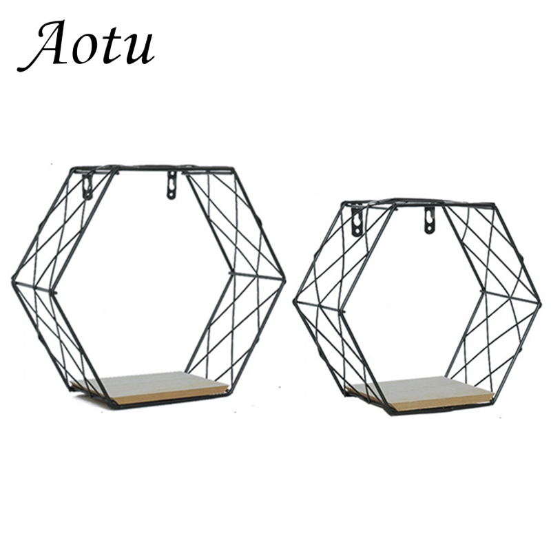 1piece Hexagon Storage Holders Iron Wooden Decorative Wall Shelves Decoration Organization Wall Hanging Storage Racks Size S/L