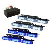 4 X 9 LED Emergency Warning Car Truck Flashing Strobe Lights Grill White Blue