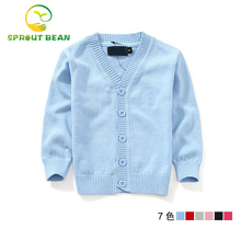 7 colors Girls cardigan long sleeve baby boys sweaters candy-colored 100% cotton baby boys and girls single-breasted jacket
