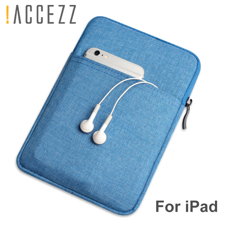 !ACCEZZ Cotton 10 Inch Tablet Sleeve Bag Cover Funda For New IPad 9.7 Air 1 2 Protective Pouch Thick Zipper Case For Ipad Pro9.7