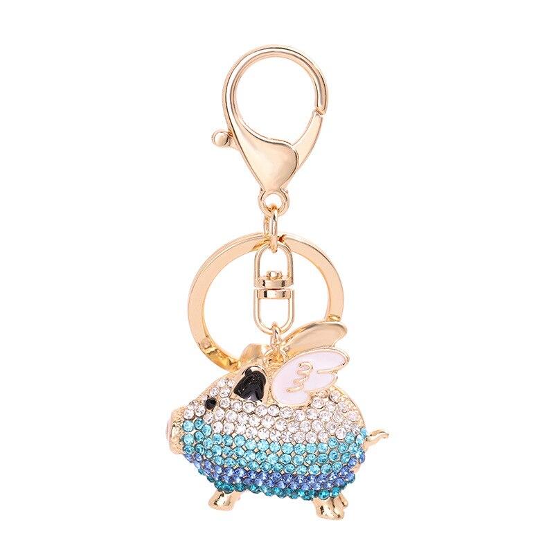 4 kleuren 12 pc leuke rhinestone flying pig sleutelhanger key ringen sieraden mooie crystal wings varken sleutelhanger vrouwen tas accessoires W31 - 6