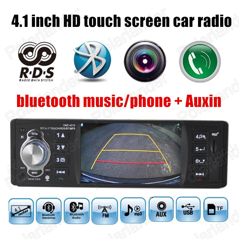 ФОТО 4.1'' inch touch screen Car radio player MP5 Support Rear view Camera Car Audio FM Radios 1 Din bluetooth Auxin RDS bluetooth