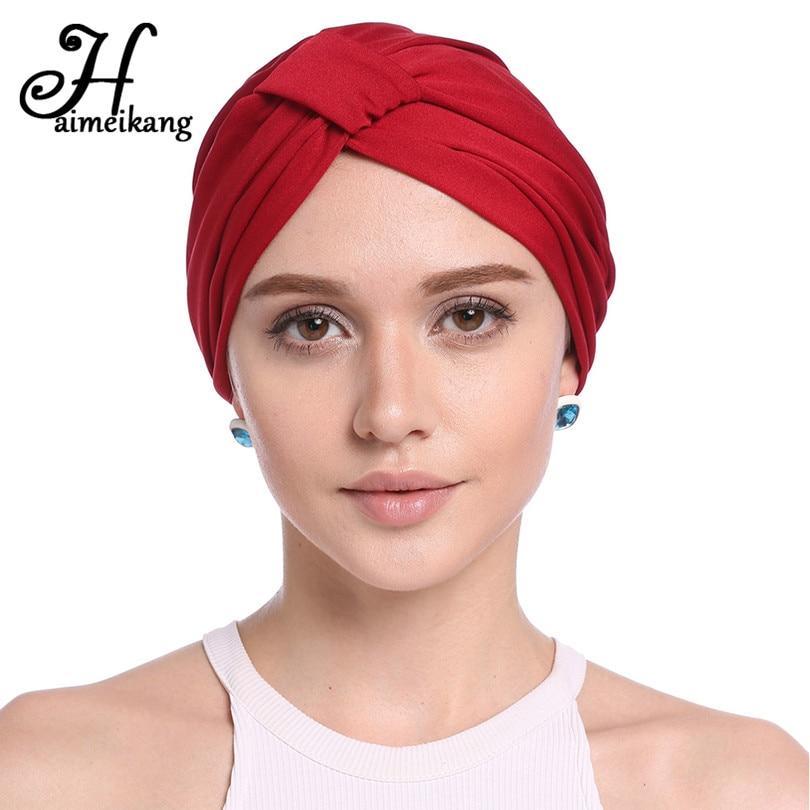 Haimeikang Vintage Womens Cross Fold Hat Turban Headbands For Autumn Winter Women Cotton Chemo Cap Hair Bands Hair Accessories