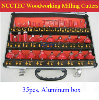 [35 pcs] a set of woodworking milling cutters for wood router machine | 6.35MM 1/4''- 6mm - 12.7mm 1/2''- 8mm shaft Aluminum box
