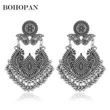Vintage Ethnic Pattern Metal Earrings Personality Tassel Big Dangle Women Gold Silver Female Charm Jewelry