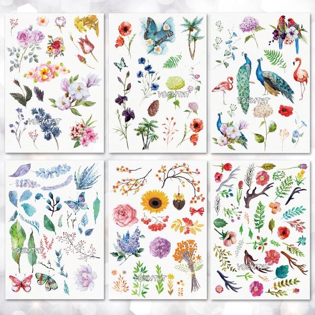 Водонепроницаемый Временные татуировки Стикеры листья цветы узор татуировки переноса воды боди-арт поддельные татуировки для мужчин и женщин