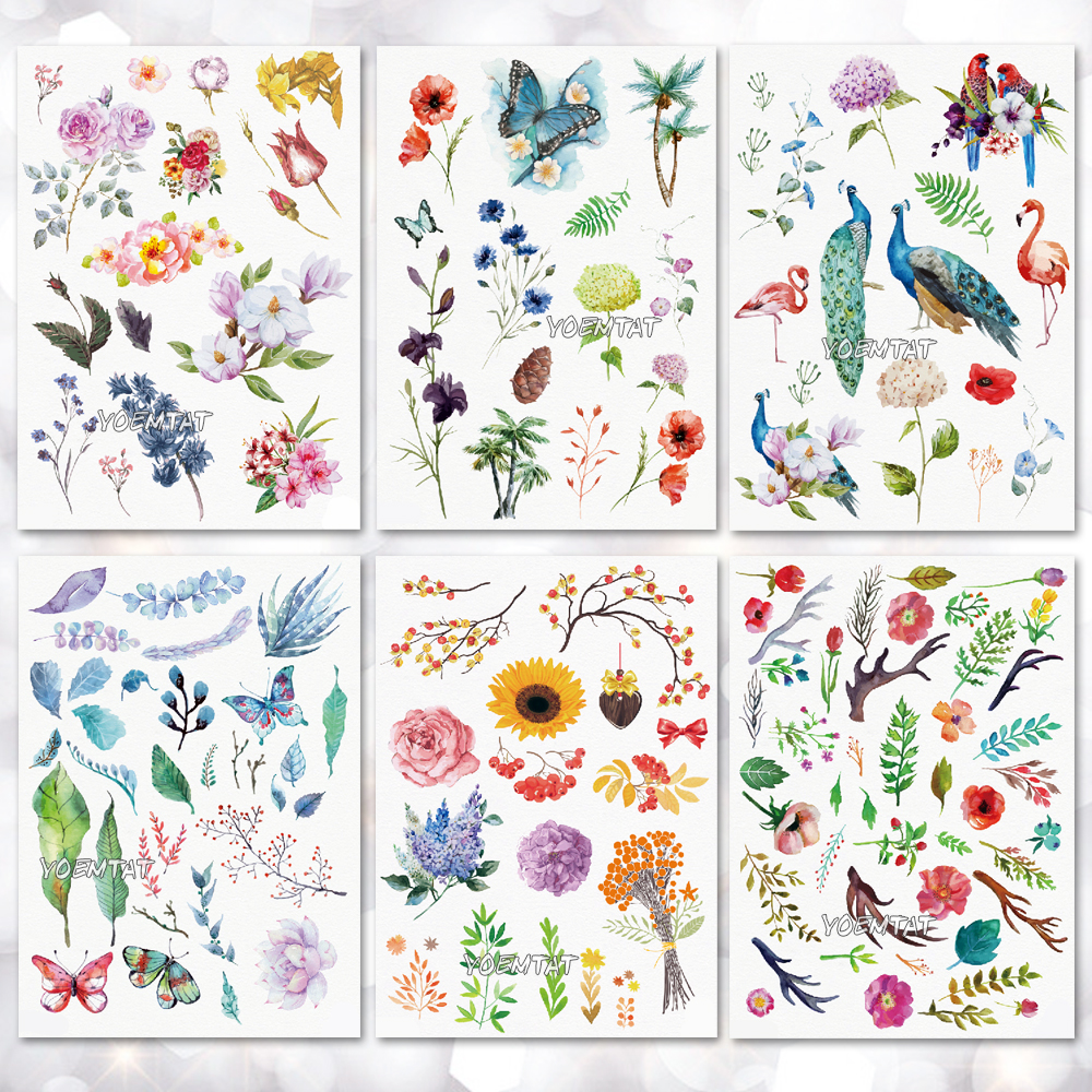 Waterproof Temporary Tattoo Sticker Leaves Flowers Pattern Tattoo Water Transfer Body Art Fake Tattoo For Women Men