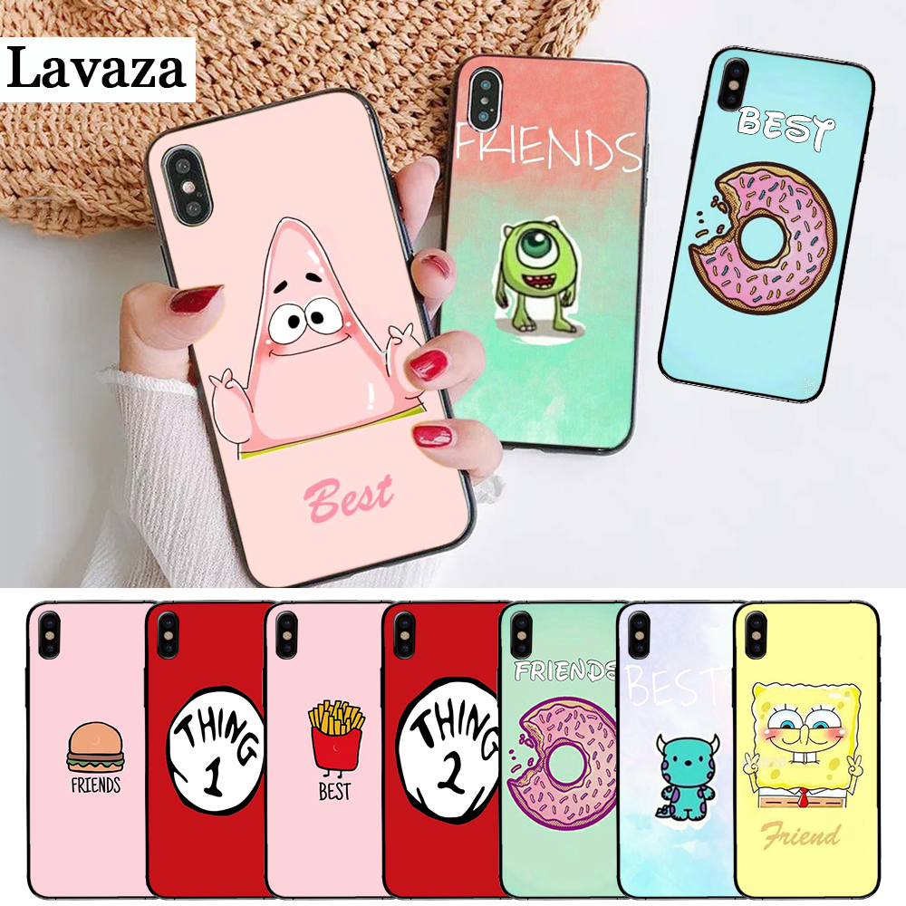 Lavaza Best Friends girls Couple Silicone Case for iPhone 5 5S 6 6S Plus 7 8 11 Pro X XS Max XR