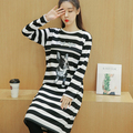 Winter Plus Velvet Thickening Maternity Dress Stripe Nursing Home Dress Plus Size O-neck Long-sleeve Feeding Pregnant Dress1661