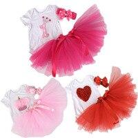 Dollbling 2016New Baby Girl Infant 3pcs Clothing Sets Short Sleeve Romper Tutu Skirt Headband Bebe First