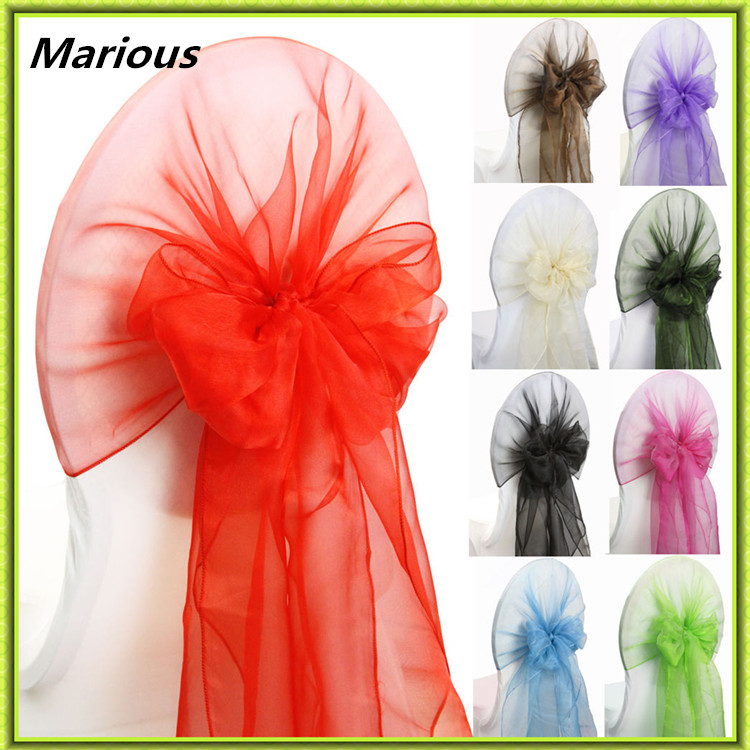 Marious Brand Marious Wedding chair cover hood 100pcs organza chair cover sashes for sale free shipping
