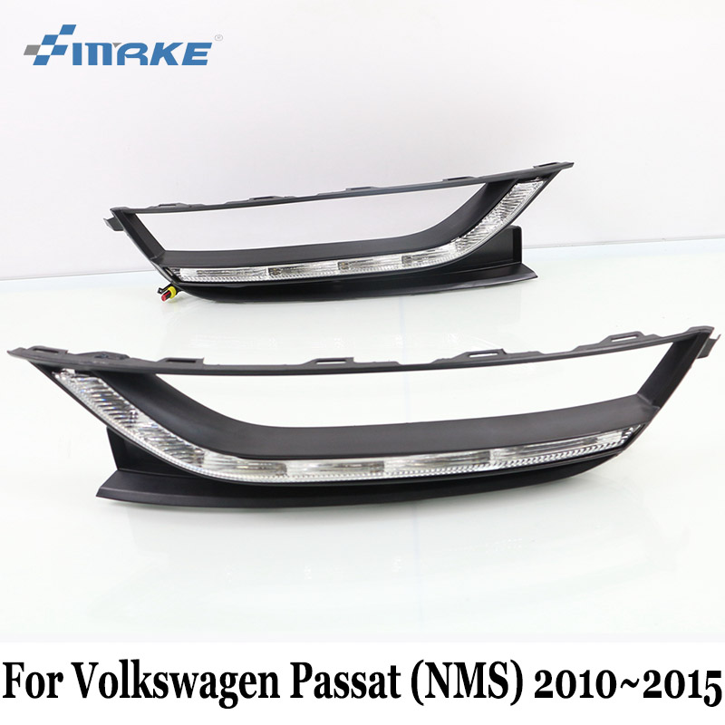 SMRKE DRL Volkswagen Passat NMS 2010~2015 / 12V Car LED Daytime Running Lights & Yellow Turn Signal / Car Styling Fog Lamp Frame volkswagen passat б у дешево