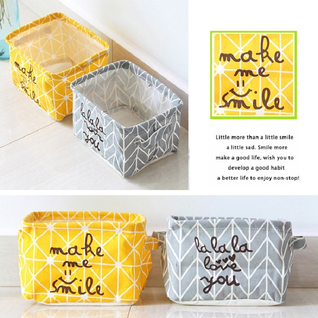 Newest So Hot Nordic Style Simplicity Linen Desk Storage Box Holder Jewelry Cosmetic Stationery Organizer Case #94883
