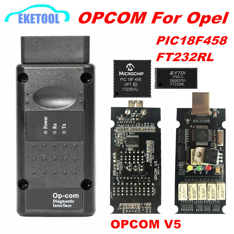 V1.99 V5 OPCOM OP com V1.95 V1.78 V1.70 V1.65 V1.59 Para Opel Ferramenta de Diagnóstico PIC18F458 & FTDI Chip NEC Relé OP-COM 120309A