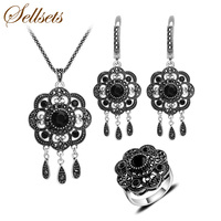 HENSEN Vintage Silver Plated Luxury Natural Stone Jewellery Set White Opal Water Drop Fashion Jewelry Sets