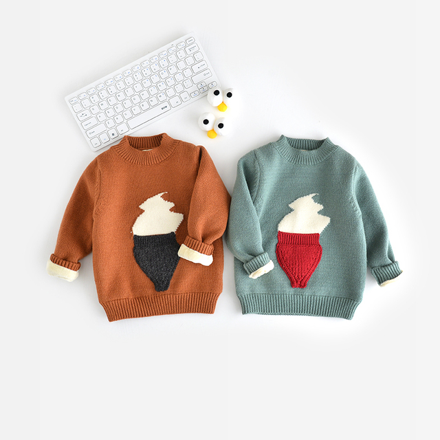 2016 sweater kids autumn winter children's clothing long-sleeve ice cream shape girls sweater pull enfant garcon boys sweater