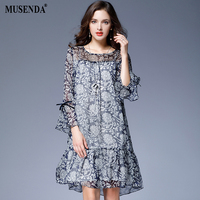 MUSENDA Plus Size Women Royal Blue Print Thin Chiffon Lining Ruffles Dress 2017 Autumn Lady Casual