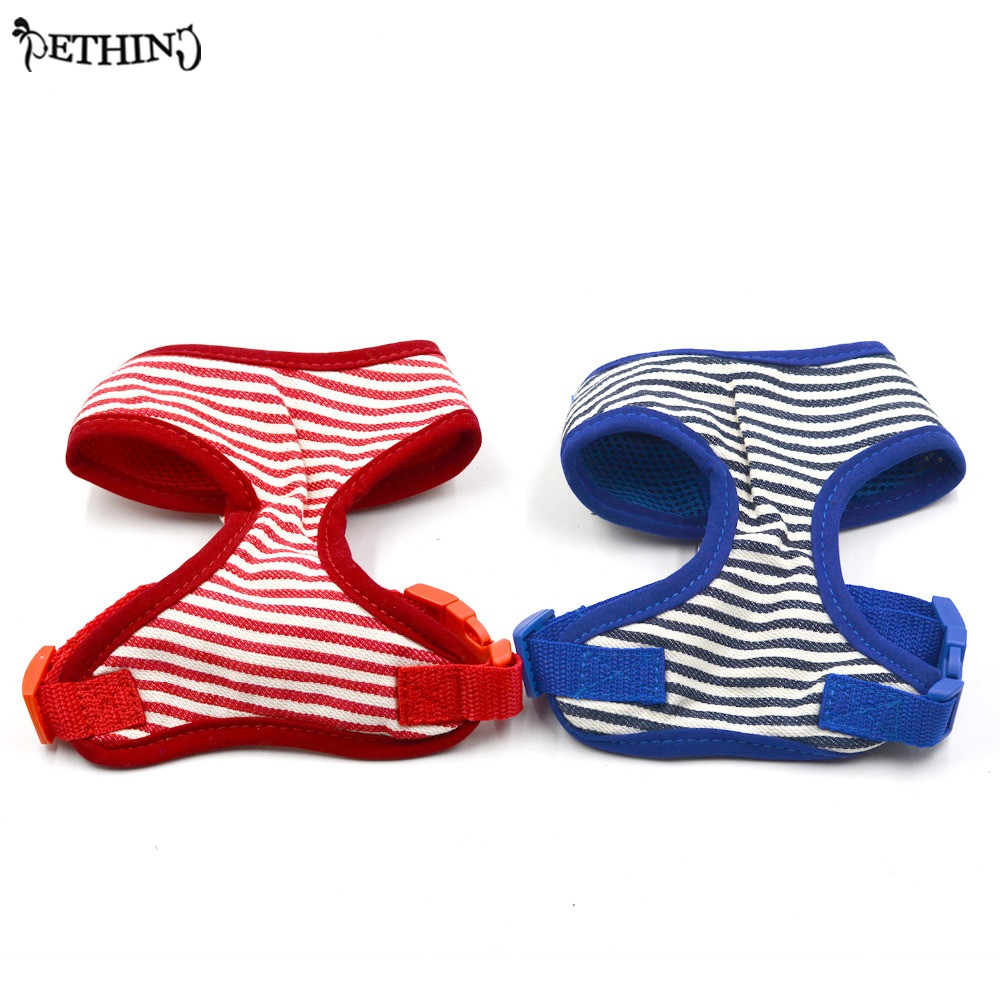 Classic stripe style small dog harness mesh cloth vest pet harness dog breathable XS S M L XL size red blue color adjustable