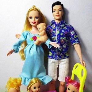 Image 5 - 女の子のおもちゃ家族6人人形スーツ1ママ/1お父さん/3リトルケリー/1の息子/1ベビーウォーカー/1ベビーカーのためのバービー