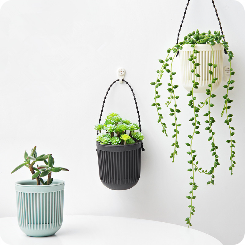 1pc Double-layer Hanging Plant Holder Lazy Water Multi-basin Plastic Basket Wall Flower Pot Macreme Planter